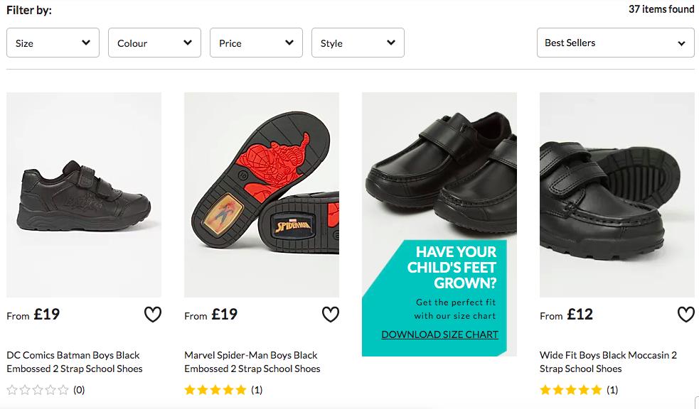 screenshot of asda school shoe website